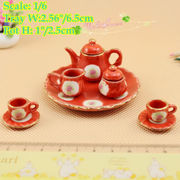 1:6 Dollhouse Miniatures Red Tea Coffee Set Pot Cup Tableware UK Style